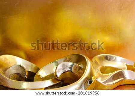 close-up gold background with gilded fretwork details - stock photo