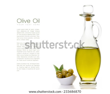 Close up Golden Olive Oil on Glass Bottle with Olive Seeds on White Bowl at the Left Side. Isolated on White Background. Design Template with Sample Text at the Left Side