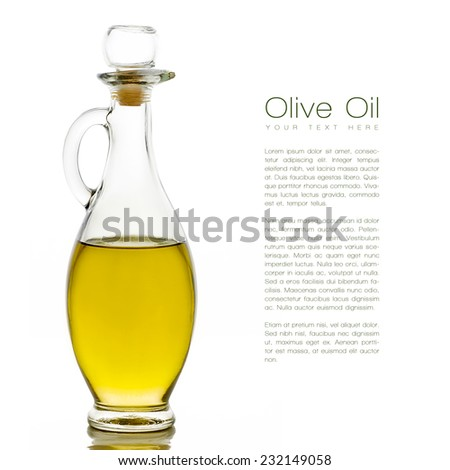 Close up golden olive oil on glass bottle with sample text at the right side. Isolated on white background. Template design - stock photo