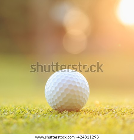 Close up golf ball on green grass in course