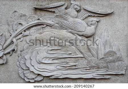 Close up granite carving in chinese temple