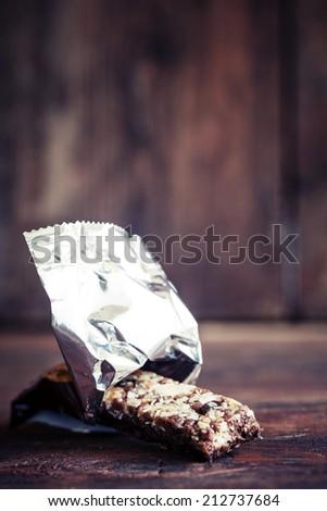 Close up granola bar / Healthy food - stock photo