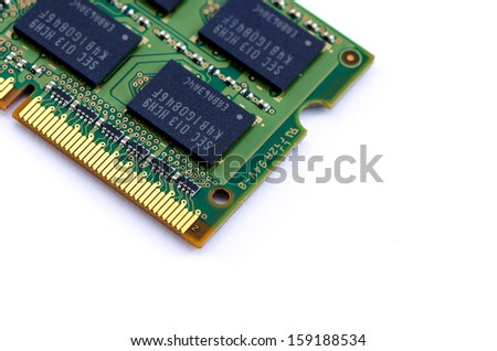 Close-up green DDR RAM (Double Data Rate Random Access Memory) stick on isolated background - stock photo