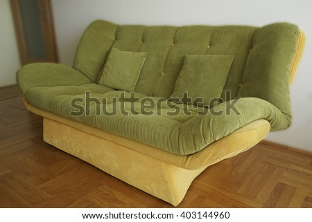 Close-up green sofa