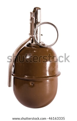 close-up grenade on the white background