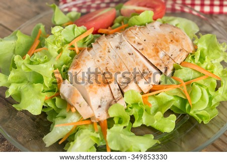 Close up, Grilled chicken breast salad. - stock photo