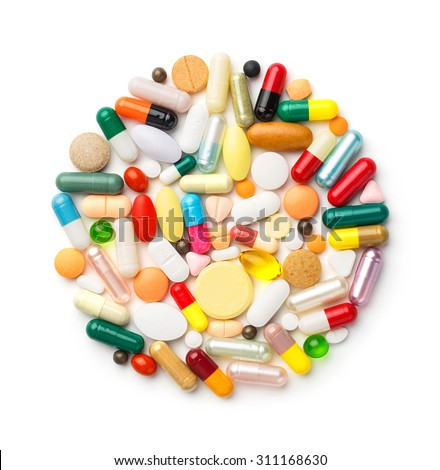 Close up group of drugs or medicines isolated on white, medical and health care concept - stock photo