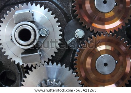 Close-up group of gears in engine