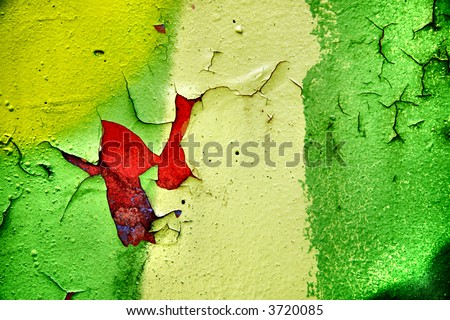 Close up grung of wall texture covered in graffiti - stock photo
