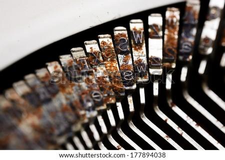 Close up grunge old typewriter - stock photo