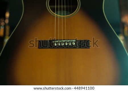close up guitar befor working music band  - stock photo