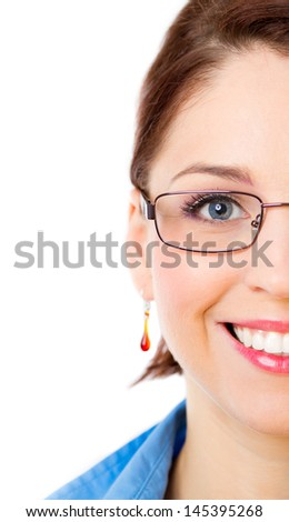 Close-up half face picture of a happy beautiful woman wearing glasses isolated on a white background - stock photo