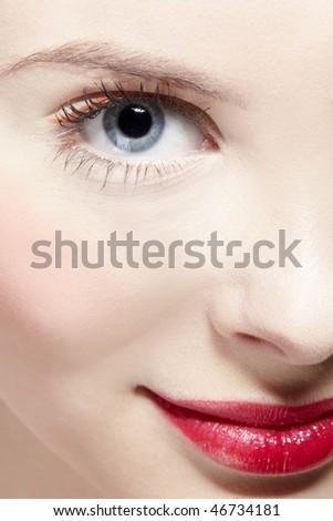 close up half-face portrait of beautiful girl - stock photo