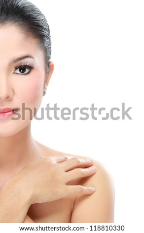 close up half of woman beauty isolated over white background - stock photo