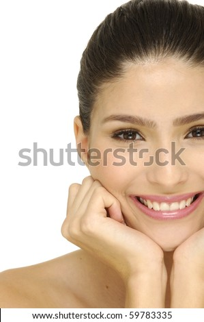 Close up half portrait of a smile beautiful female model - stock photo