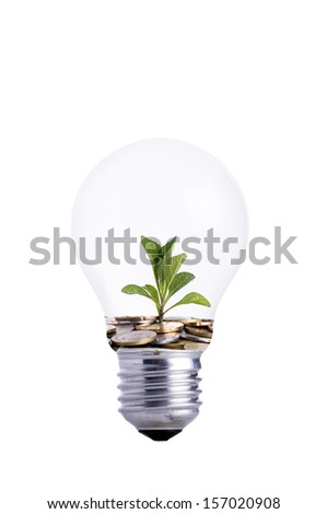 close up hand holding bulb and coins with small plant growing out of it-Investment concept - stock photo