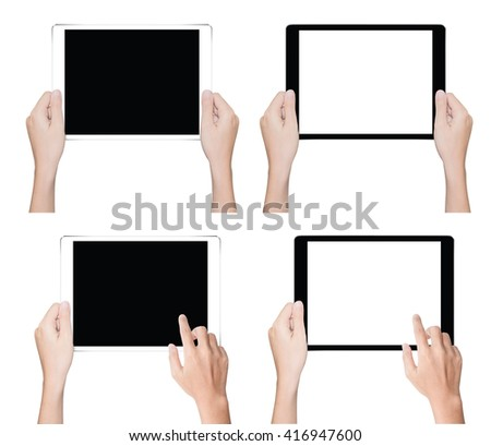 close up hand holding tablet isolated white clipping path inside data - stock photo