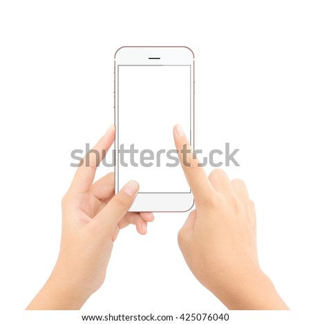 close up hand touching on phone isolated white clipping path inside clean and easy adjustment - stock photo