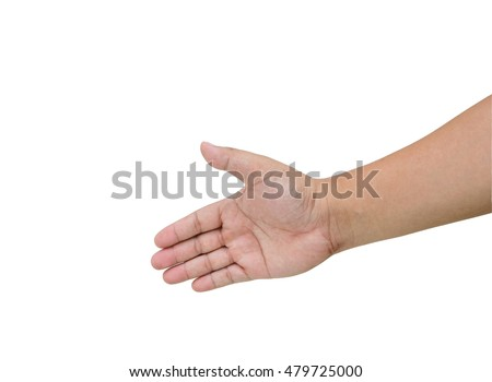 Close up hands  man with an open hand ready to seal a deal   isolated on white background
