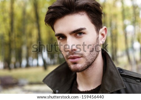 close-up handsome man portrait - stock photo