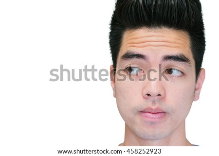 Close-up Handsome young asian man thinking isolated on white background. Human Face.