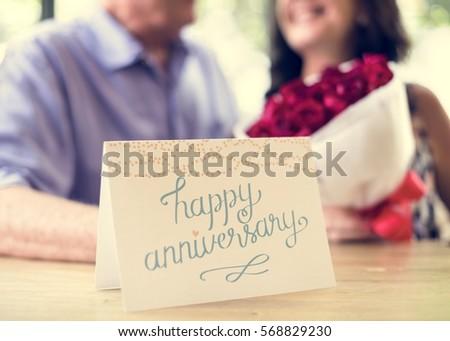 Close happy anniversary greeting card stock photo