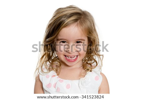 Close up Happy Cute Blond Girl Smiling to You Genuinely, Isolated on White Background. - stock photo