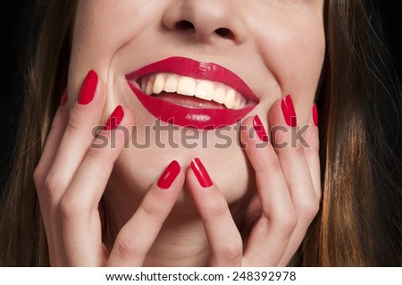 Close-up happy female smile with healthy white teeth - stock photo