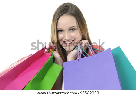 Close up happy shopping girl