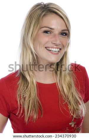 Close up Happy Young Blond Woman in Red Shirt While Looking at the Camera. Isolated on White Background. - stock photo