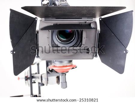 close-up HD camcorder up on studio crane - stock photo