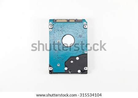 close up HDD - Hard Drive Disk isolated on white background - stock photo