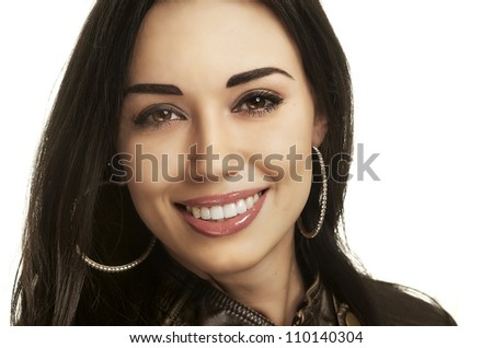 Close up headshot of a friendly beautiful smiling young with perfect white teeth - stock photo