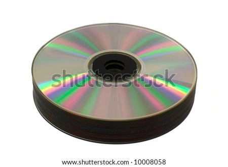close-up heap of cd-rom disks, isolated on white
