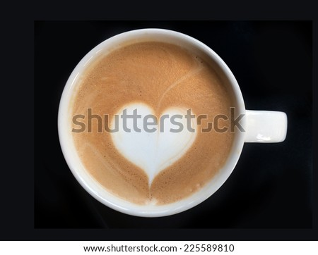close up heart symbol at latte art coffee isolate - stock photo