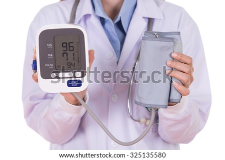 close-up hearth beat monitor and blood pressure with female doctor isolated on white background - stock photo