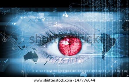 Close-up high-tech image of human eye. Technology concept