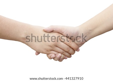 Close-up Holding Hands of two girl, friendship and relationship concept. Clipingpath