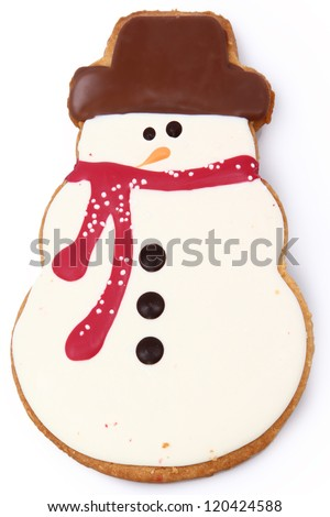 Close up Holiday Snowman Gingerbread Man Cookie over White - stock photo