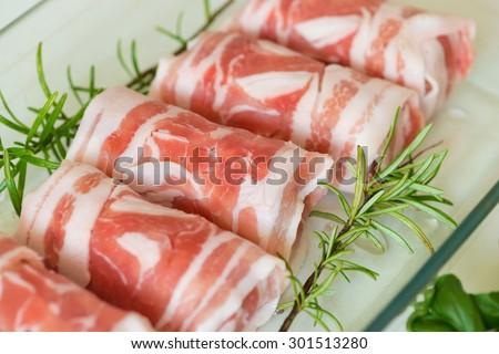 Close up horizontal image of raw pork roll. Traditional Dutch dish. - stock photo