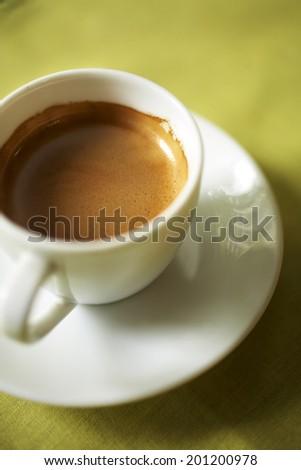 close up hot espresso in white cup - stock photo