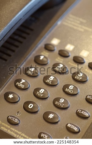 Close - up Hotel telephone button number