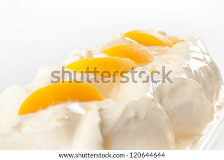 Close up Ice cream with peach - stock photo