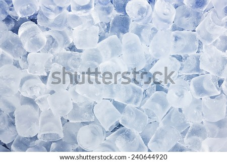 Close up ice cube in blue cooler box