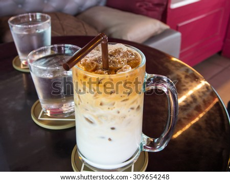 Close up iced coffee - stock photo