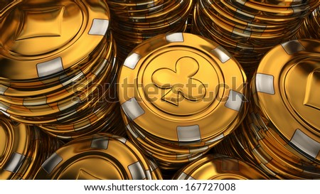 Close up illustration of gold casino chips stack - 3D rendered image - stock photo