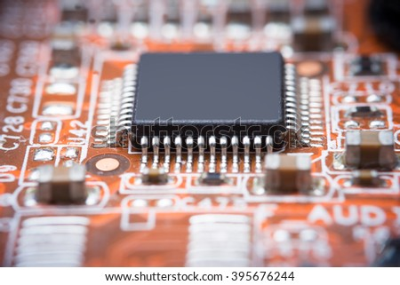 Close up image : electrical circuit mother board from computer - stock photo