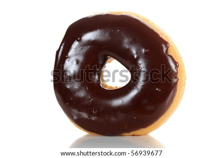Close-up image of a chocolate glazed doughnut isolated on white background
