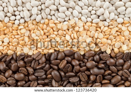 Close-up image of a dried assorted vegetable beans on the background