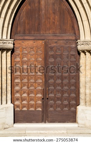 close-up image of a fragment of wooden ancient door - stock photo